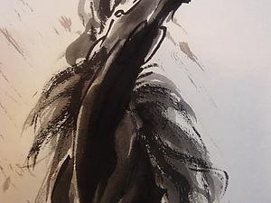 Рисуем ЛОШАДЬ тушью на свитке.. Ярмарка Мастеров - ручная работа, handmade.
