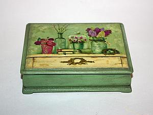 Шкатулка в зеленых тонах. Ярмарка Мастеров - ручная работа, handmade.