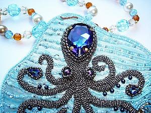 Вышиваем кулон «Octopus Heliotropium». Ярмарка Мастеров - ручная работа, handmade.