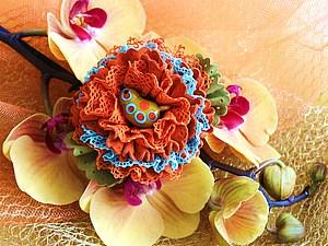 Брошь Яркий цветок | Ярмарка Мастеров - ручная работа, handmade