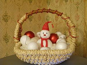 Снеговик из елочных игрушек | Ярмарка Мастеров - ручная работа, handmade