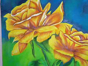 Видео мастер-класс: рисуем желтые розы с листьями. Ярмарка Мастеров - ручная работа, handmade.