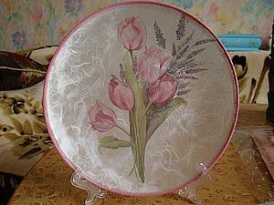 Мастер-класс: тарелочка с обратным декупажем и рисовой бумагой. Ярмарка Мастеров - ручная работа, handmade.
