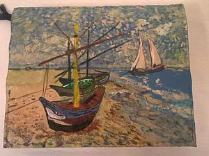 Роспись обложки для ежедневника по мотивам картины Ван Гога «Лодки в Сен-Мари». Ярмарка Мастеров - ручная работа, handmade.