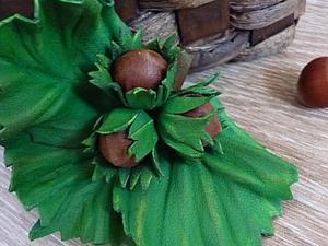 «Три орешка для Золушки», или Как из кожи сделать веточку фундука. Ярмарка Мастеров - ручная работа, handmade.