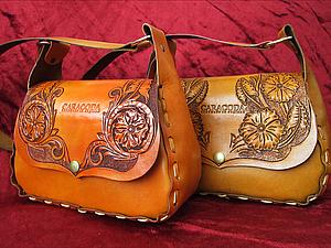 Весенняя сумочка из кожи с гравировкой. Ярмарка Мастеров - ручная работа, handmade.