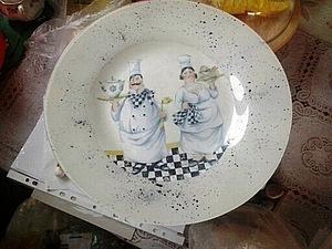 «Интерьерная тарелочка» обратный декупаж на стекле | Ярмарка Мастеров - ручная работа, handmade