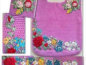 preview Совместный проект вязаная сумка с вышивкой из лент   Ярмарка Мастеров - ручная работа, handmade