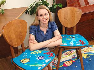 Декор подушки для стула в технике тканевой аппликации стигис. Ярмарка Мастеров - ручная работа, handmade.