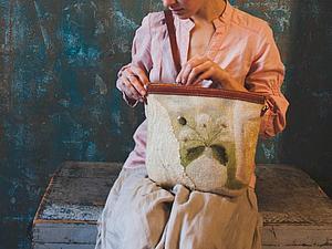 Валяная сумка с одуванчиками. Техника шерстяной акварели. | Ярмарка Мастеров - ручная работа, handmade