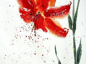 для новичков Рисуем ЛИЛИЮ на одном дыхании(быстрые техники рисования). | Ярмарка Мастеров - ручная работа, handmade