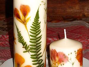 Свеча вся в цветах-сухоцветах. Ярмарка Мастеров - ручная работа, handmade.