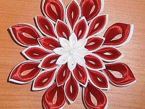 Создание цветка канзаши. Ярмарка Мастеров - ручная работа, handmade.