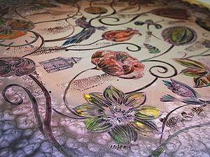 Расписываем шелковый платок по солевому фону   Ярмарка Мастеров - ручная работа, handmade