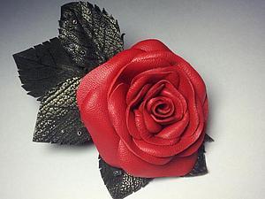 МК по созданию броши-розы из кожи   Ярмарка Мастеров - ручная работа, handmade