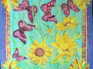 Этапы работы над платком «Август» | Ярмарка Мастеров - ручная работа, handmade