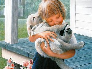 Дети и собаки в живописи Даниэля Кевина   Ярмарка Мастеров - ручная работа, handmade