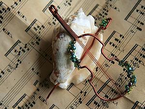 Сам себе Страдивари. Создание кулона-броши в виде скрипки | Ярмарка Мастеров - ручная работа, handmade