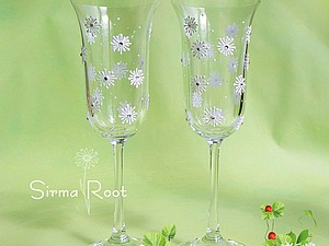 Расписываем свадебные бокалы «Ромашки». Ярмарка Мастеров - ручная работа, handmade.