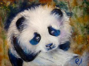 Создаем милую панду в технике шерстяной живописи. Ярмарка Мастеров - ручная работа, handmade.