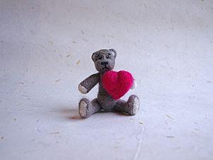 Валяем мишку к Дню святого Валентина | Ярмарка Мастеров - ручная работа, handmade