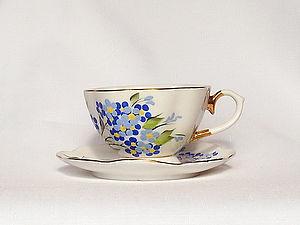 """Роспись чайной пары """" Незабудки"""". Ярмарка Мастеров - ручная работа, handmade."""