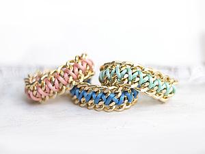 Модный браслет из цепочки и шнура | Ярмарка Мастеров - ручная работа, handmade