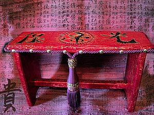 Декор садовой скамеечки «для Китайского Мандарина». Ярмарка Мастеров - ручная работа, handmade.