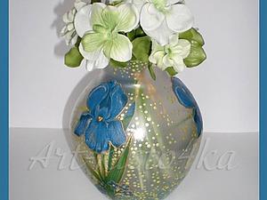 Декорирование стеклянной вазы в технике декупаж с применением точечной росписи. Ярмарка Мастеров - ручная работа, handmade.