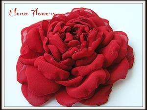 Роза из шифона Мастер класс от Elena Flowers | Ярмарка Мастеров - ручная работа, handmade