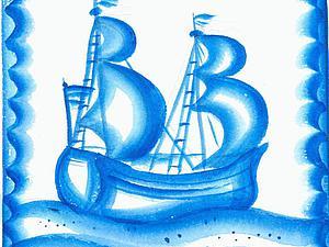 Расписываем плитку в стиле гжель. Кораблик. Ярмарка Мастеров - ручная работа, handmade.