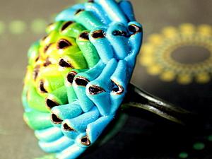 кольцо необычный цветок из полимерной глины (фимо)с переходом цвета | Ярмарка Мастеров - ручная работа, handmade