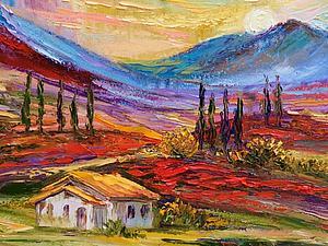 Пишем пейзаж Прованса с маковыми полями. Ярмарка Мастеров - ручная работа, handmade.