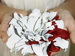 МК цветок из кожи
