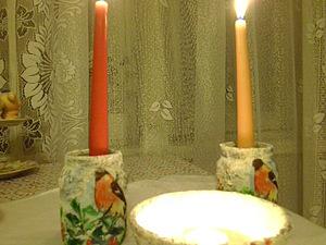Делаем подсвечники «Снегирь в зимнем лесу». Ярмарка Мастеров - ручная работа, handmade.