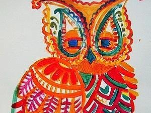 Сова. Декоративно-орнаментальный рисунок | Ярмарка Мастеров - ручная работа, handmade