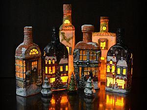 Рождественские домики-светильники | Ярмарка Мастеров - ручная работа, handmade