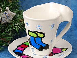 Роспись керамики – «Горячий напиток зимнего дня». Ярмарка Мастеров - ручная работа, handmade.