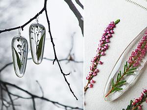 МК эпоксидная смола и сухоцветы - создание прозрачных украшений без молдов | Ярмарка Мастеров - ручная работа, handmade