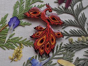Делаем брошь «Жар-птица» из деревянной заготовки. Ярмарка Мастеров - ручная работа, handmade.