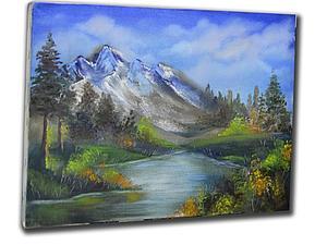 Рождественская АКЦИЯ!!! МК по живописи. Пейзаж с горами и озером. | Ярмарка Мастеров - ручная работа, handmade