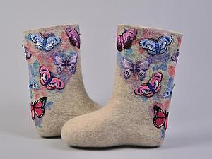 Нежные бабочки: украшаем валенки | Ярмарка Мастеров - ручная работа, handmade