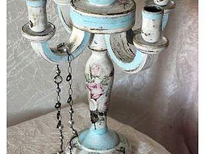 Канделябр в английском стиле Шебби, с цветными потертостями и золочением