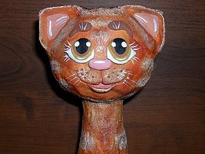 Кошка на бутылке.Лепим из солёного теста. | Ярмарка Мастеров - ручная работа, handmade