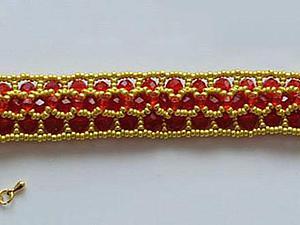 Плетем красно-золотой браслет из бусин и бисера. Ярмарка Мастеров - ручная работа, handmade.