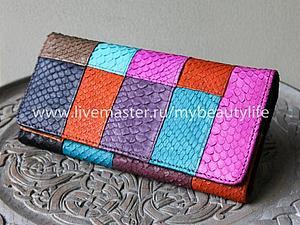 Аукцион с нуля на кошелек из кожи питона | Ярмарка Мастеров - ручная работа, handmade