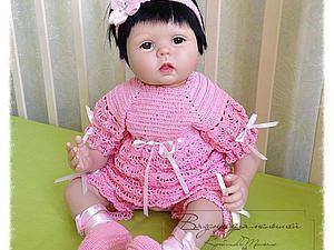 Снизила цену на нарядный вязаный костюмчик для новорожденной   Ярмарка Мастеров - ручная работа, handmade