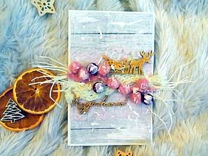 Мастерим новогоднюю открытку с оленем. Ярмарка Мастеров - ручная работа, handmade.