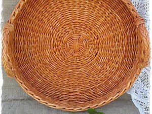 Плетем красивое круглое донышко из бумажной лозы. Ярмарка Мастеров - ручная работа, handmade.