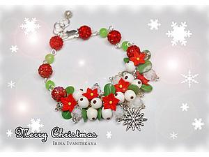 Рождественский браслет с пуансеттией и омелой. Видео мастер-класс. Ярмарка Мастеров - ручная работа, handmade.